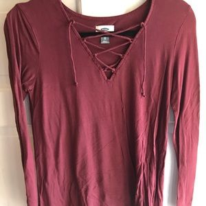 XS Old Navy Long Sleeve. Lace up Top- Burgundy